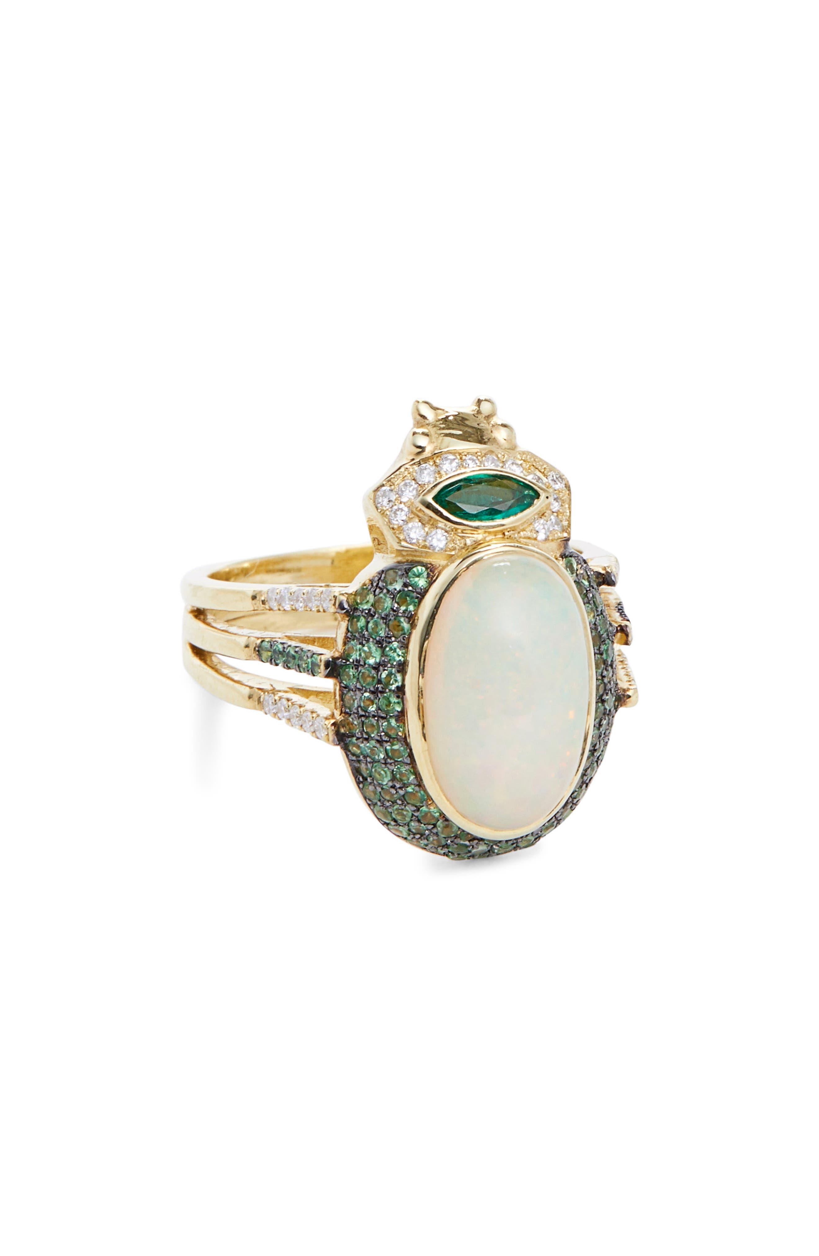 Seaweed Opal, Diamond, Tsavorite & Tourmaline Ring, Main, color, YELLOW GOLD