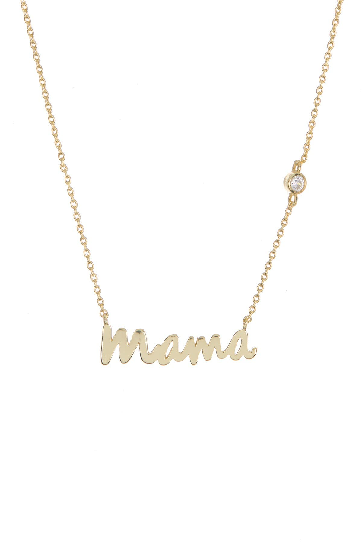 Image of Argento Vivo 18K Gold Plated Sterling Silver Bezel CZ Scripted Mama Necklace