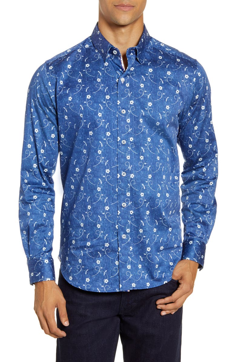 ROBERT GRAHAM Hawkeswrth Floral Button-Up Shirt, Main, color, BLUE