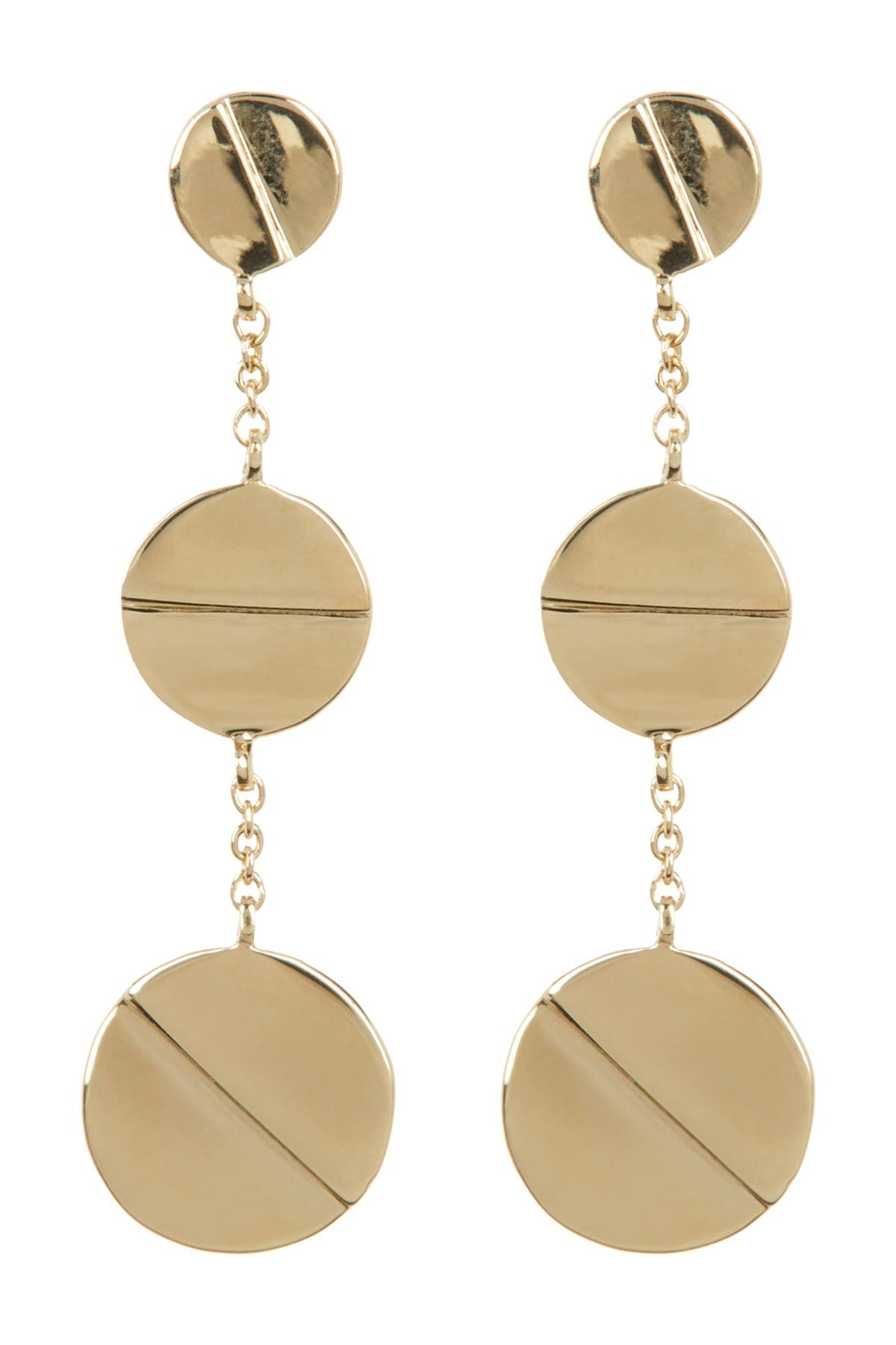 Image of Bony Levy 14K Yellow Gold Etched Circle Triple Drop Earrings