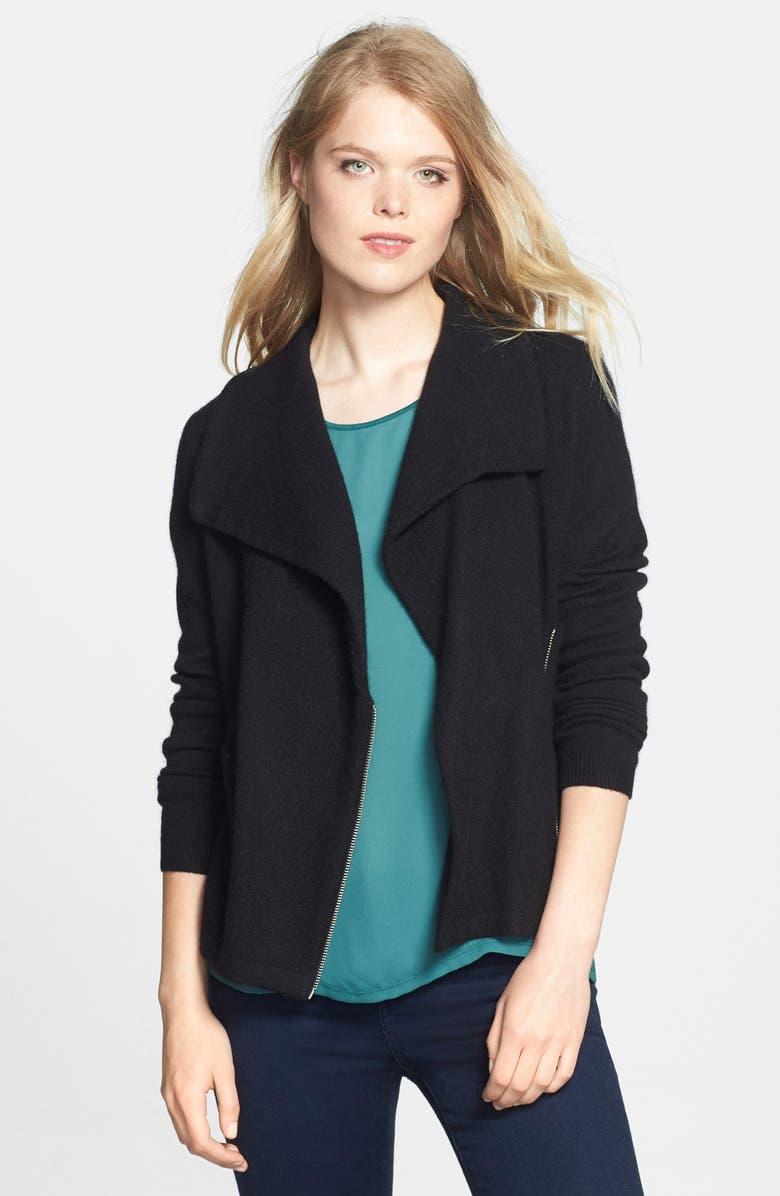 HALOGEN<SUP>®</SUP> Wool & Cashmere Moto Jacket, Main, color, 001