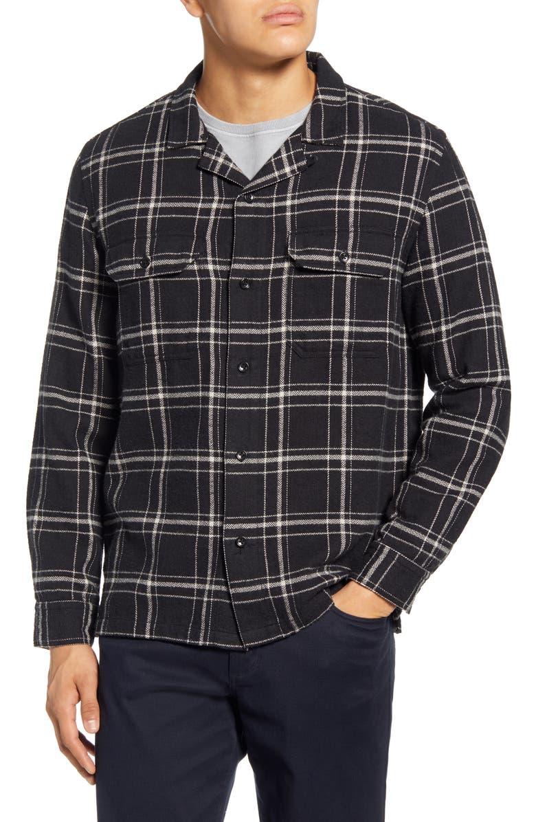 BLDWN Guetes Regular Fit Plaid Button-Up Flannel Overshirt, Main, color, BLACK PLAID