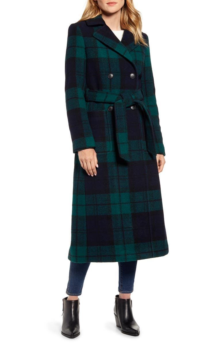 PENDLETON Aurora Classic Double Breasted Reefer Coat, Main, color, BLACK WATCH PLAID