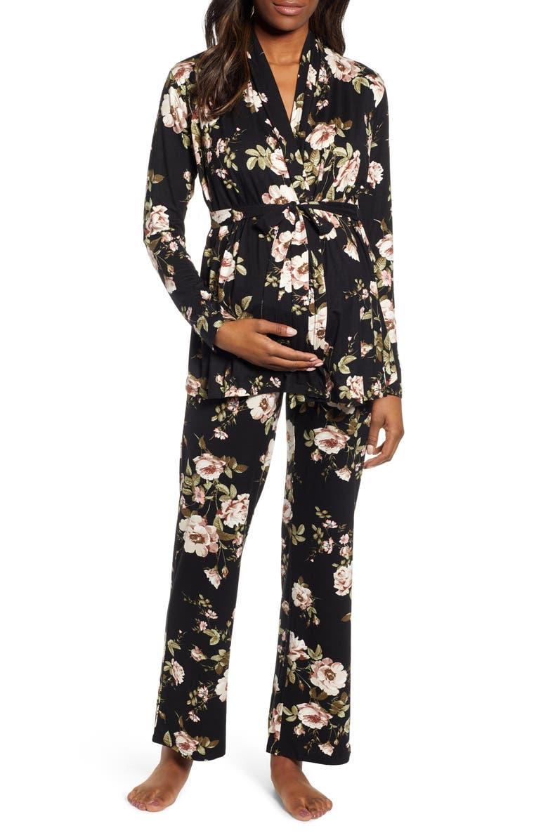 ANGEL MATERNITY Floral Maternity/Nursing Pajamas, Main, color, BLACK