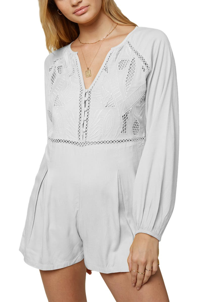 O'NEILL Ryana Long Sleeve Romper, Main, color, WHITE
