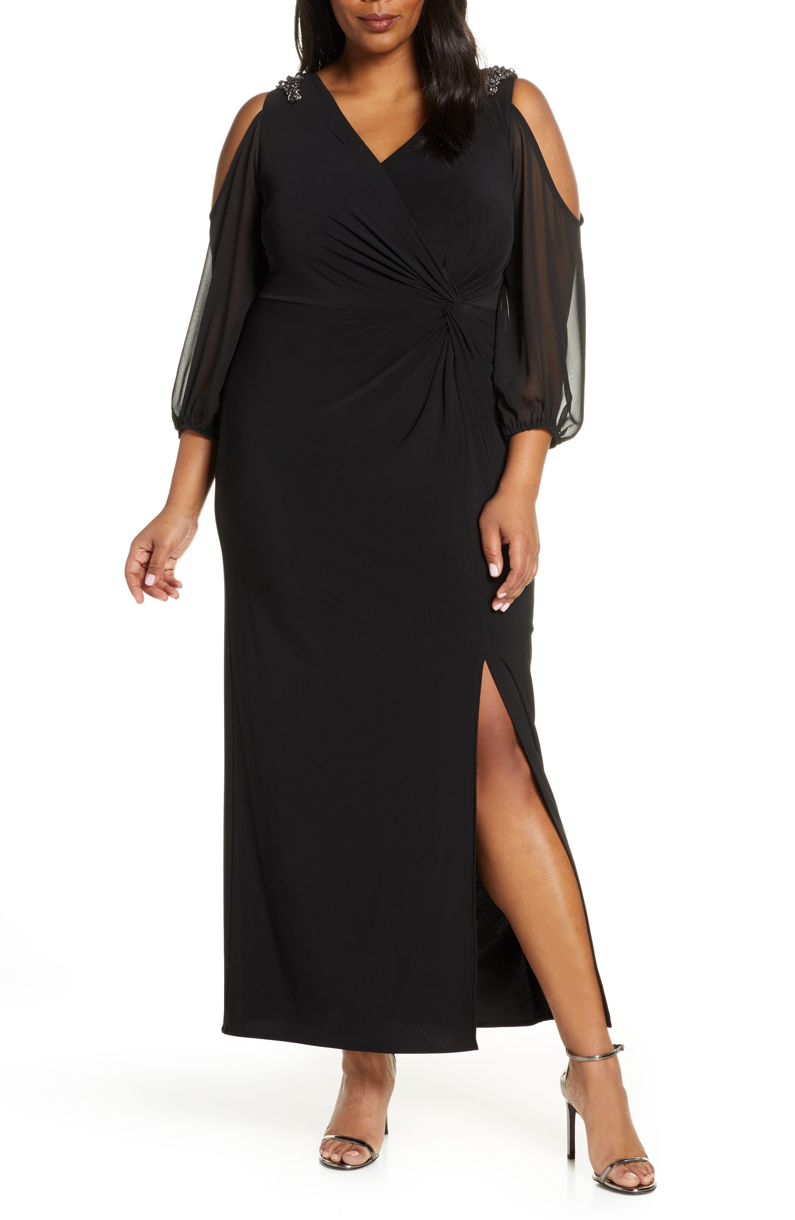 Plus Size Alex Evenings Cold Shoulder Knot Front Gown, Black