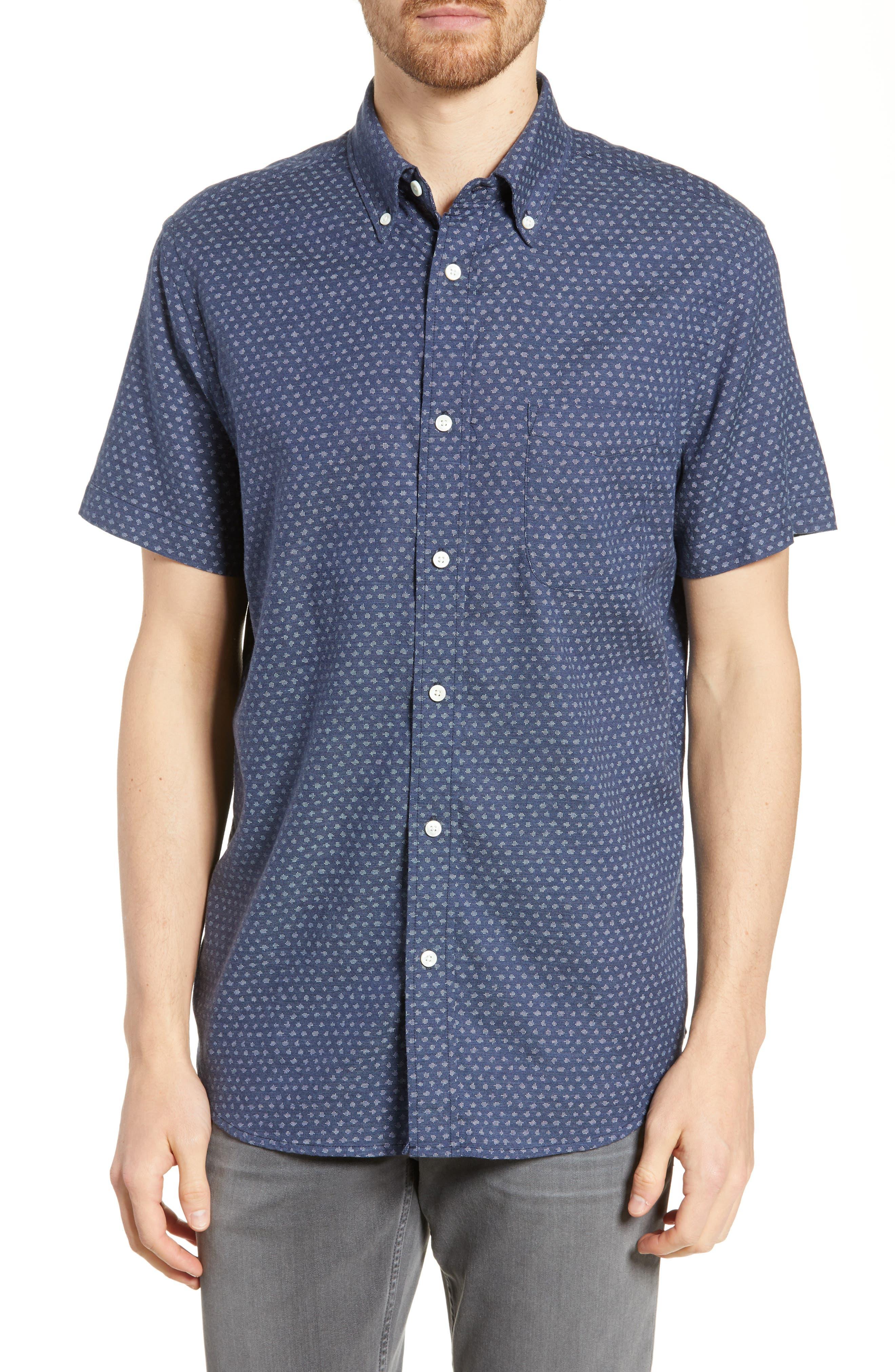 Faherty Navy Fleck Regular Fit Sport Shirt, Blue