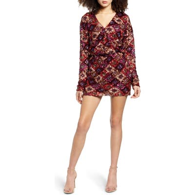 Endless Rose Multi Sequin Long Sleeve Wrap Minidress, Red