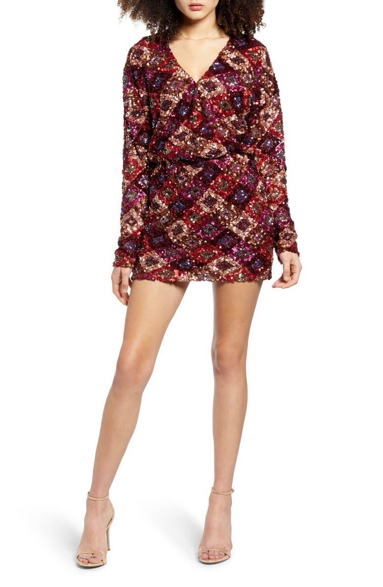 ENDLESS ROSE Multi Sequin Long Sleeve Wrap Minidress, Main, color, MULTI