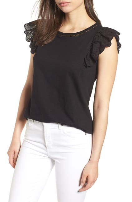 Image of Bobeau Eyelet Sleeve Top