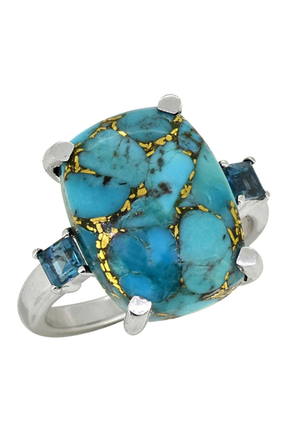 Image of Nitya Blue Copper Turquoise & Blue Topaz Sterling Silver Ring