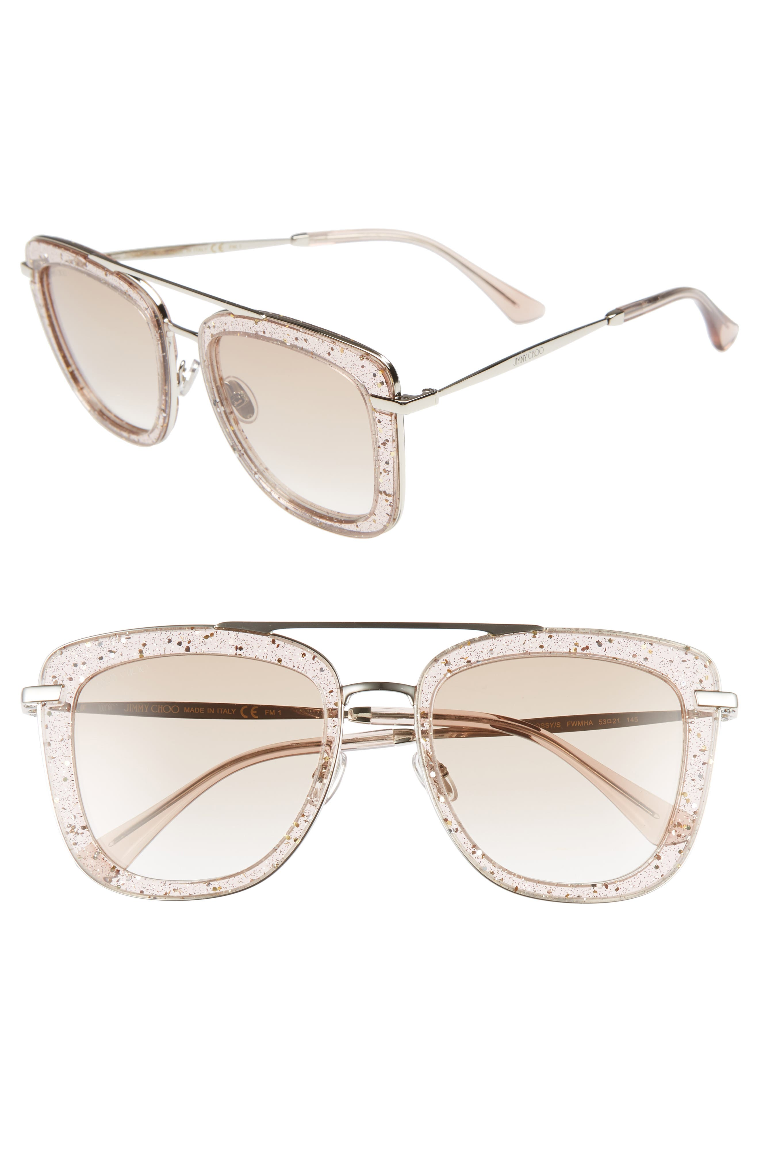,                             Glossy 53mm Square Sunglasses,                             Main thumbnail 1, color,                             NUDE
