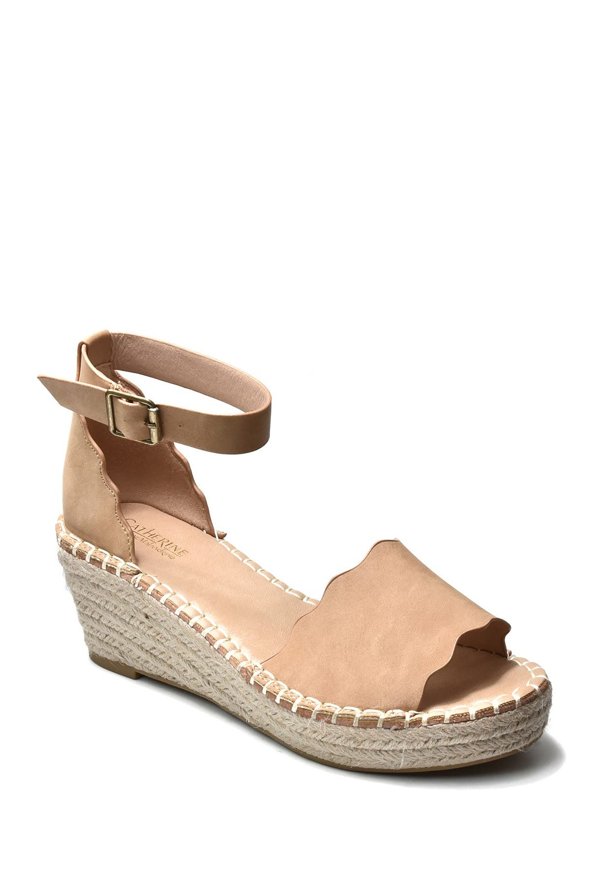 Image of Catherine Catherine Malandrino Margo Scalloped Espadrille Platform Wedge Sandal