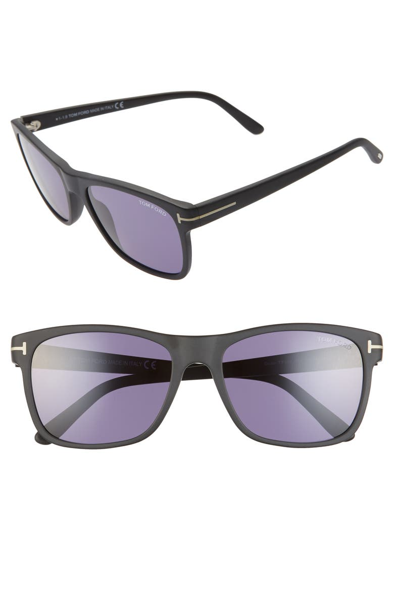 TOM FORD Giulio 59mm Square Sunglasses, Main, color, MATTE BLACK / BLUE