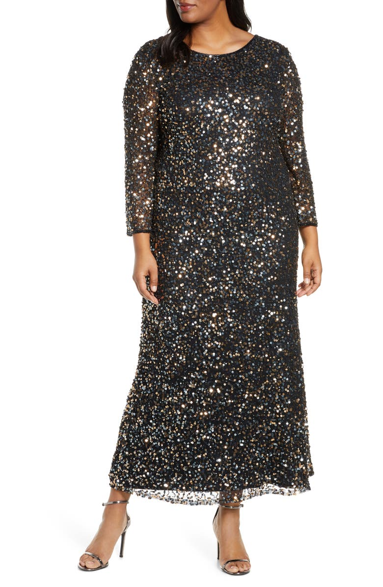 PISARRO NIGHTS Embellished Mesh Gown, Main, color, BLACK/ COPPER