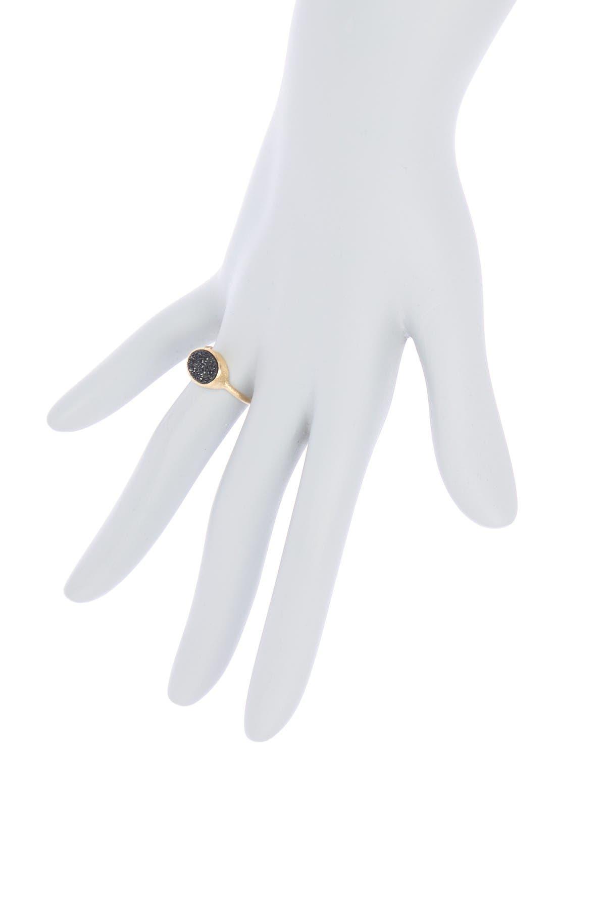 Image of Rivka Friedman 18K Gold Clad Petite East/West Black Druzy Ring