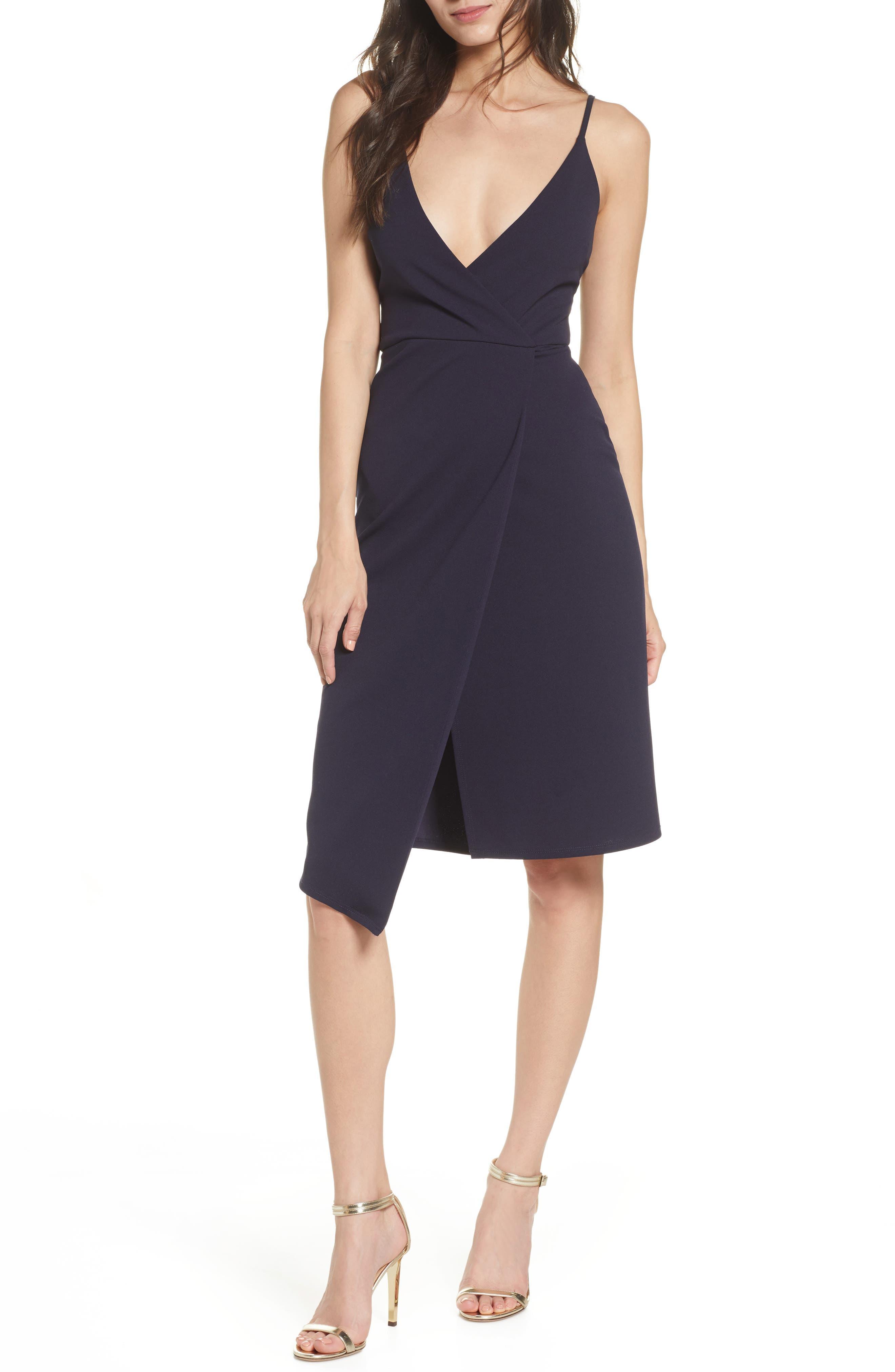 Sequin Hearts Crepe Envelope Hem Cocktail Dress, Blue