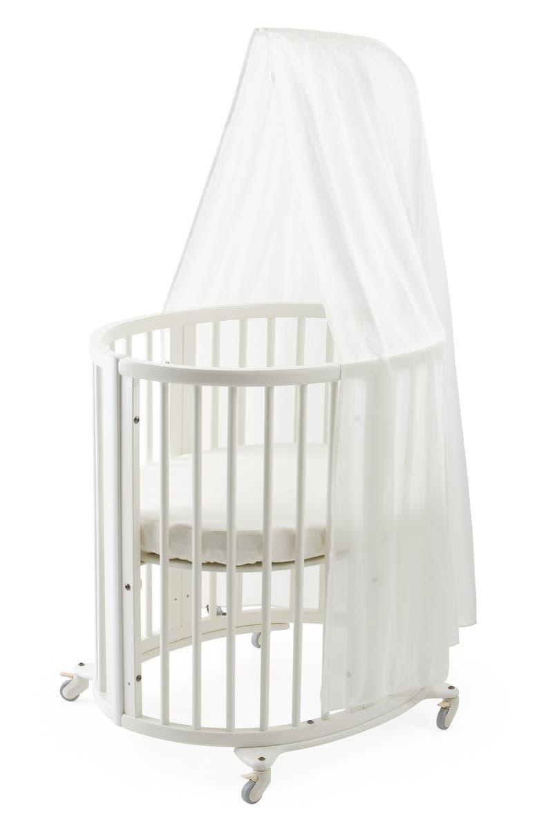 STOKKE Sleepi Mini Crib, Drape Rod & Mattress Bundle, Main, color, WHITE