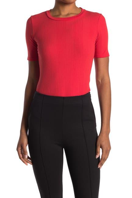 Image of BALDWIN Sabina Ribbed Knit T-Shirt