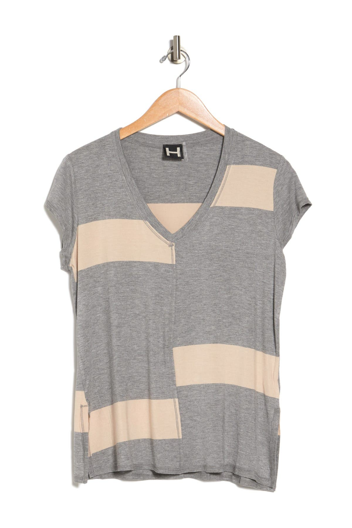 Image of H By Bordeaux Wide Striped V-Neck Shirt