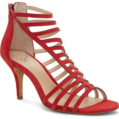 Vince Camuto Petronia Asymmetrical Cage Sandal, Red