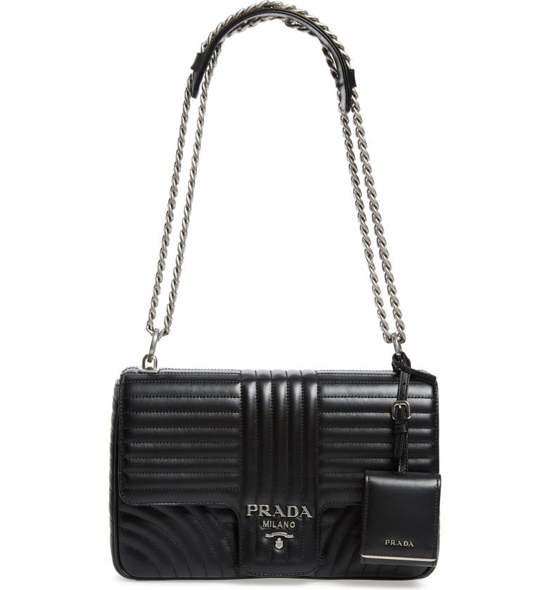 PRADA Quilted Calfskin Leather Handbag, Main, color, 001