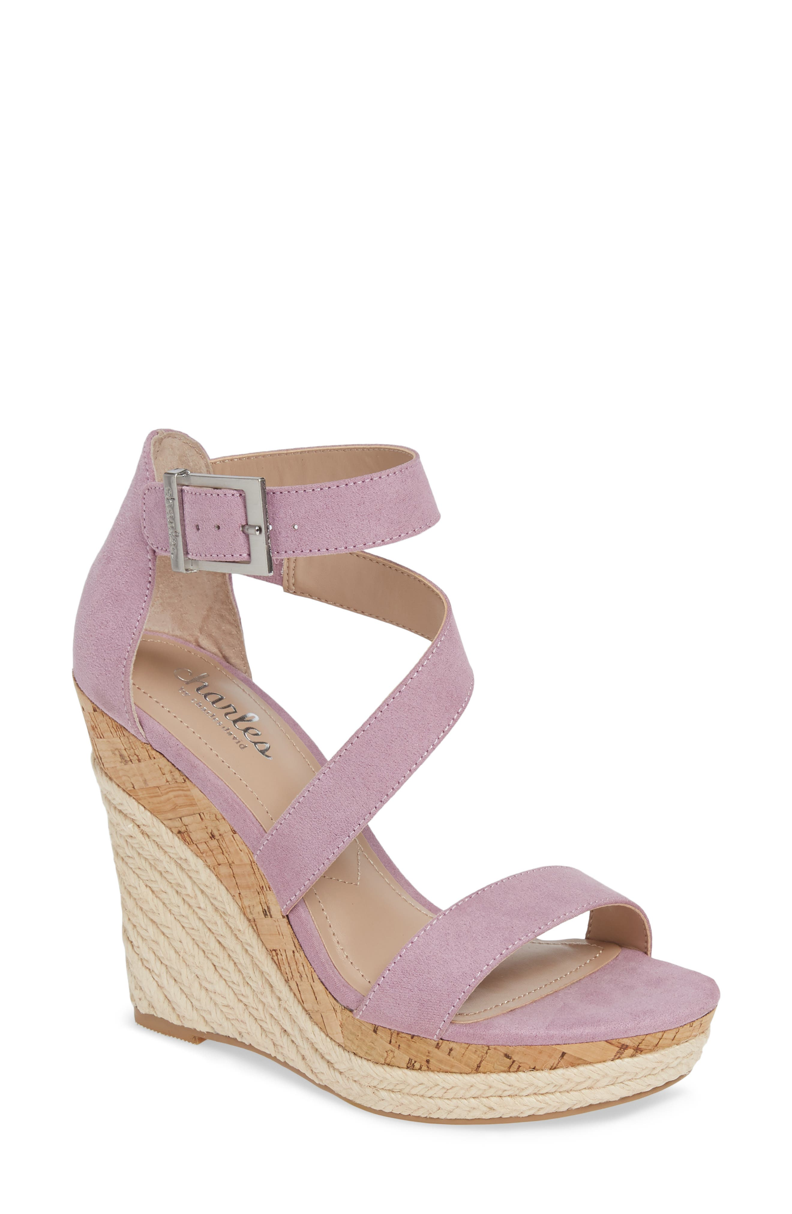 Charles By Charles David Adrielle Asymmetrical Platform Wedge Sandal- Purple