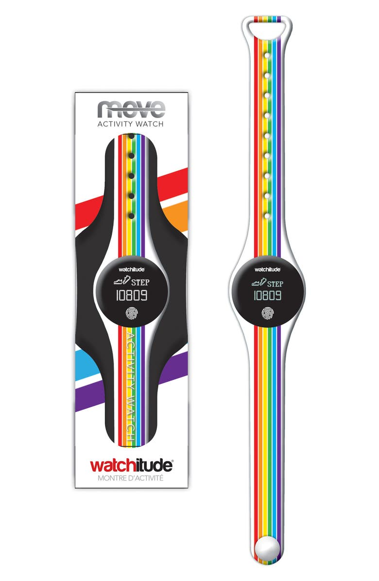 WATCHITUDE Rainbow Stripe Activity Watch, Main, color, MULTI