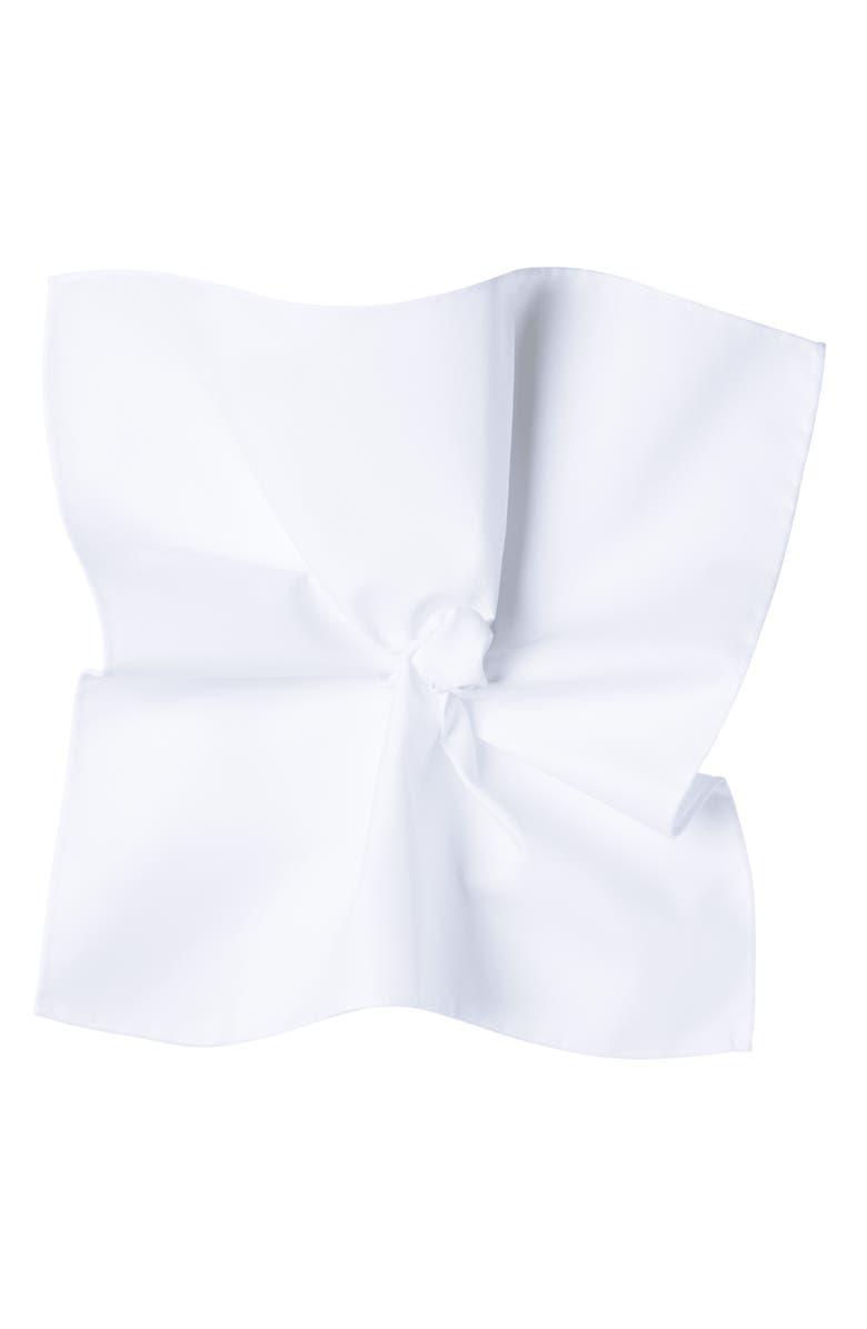 SUITSUPPLY White Cotton Pocket Square, Main, color, WHITE