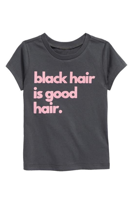 Typical Black Tees Babies' Black Hair Is Good Hair Graphic Tee In Charcoal