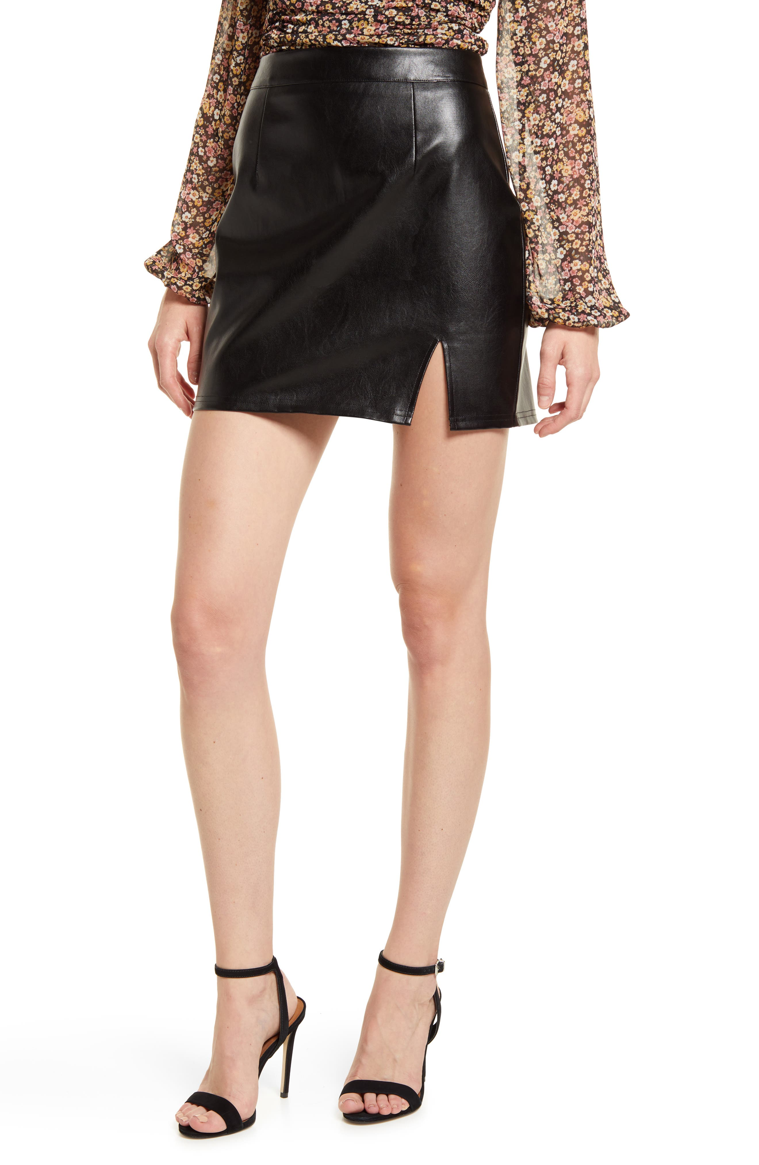 Corte Faux Leather Miniskirt