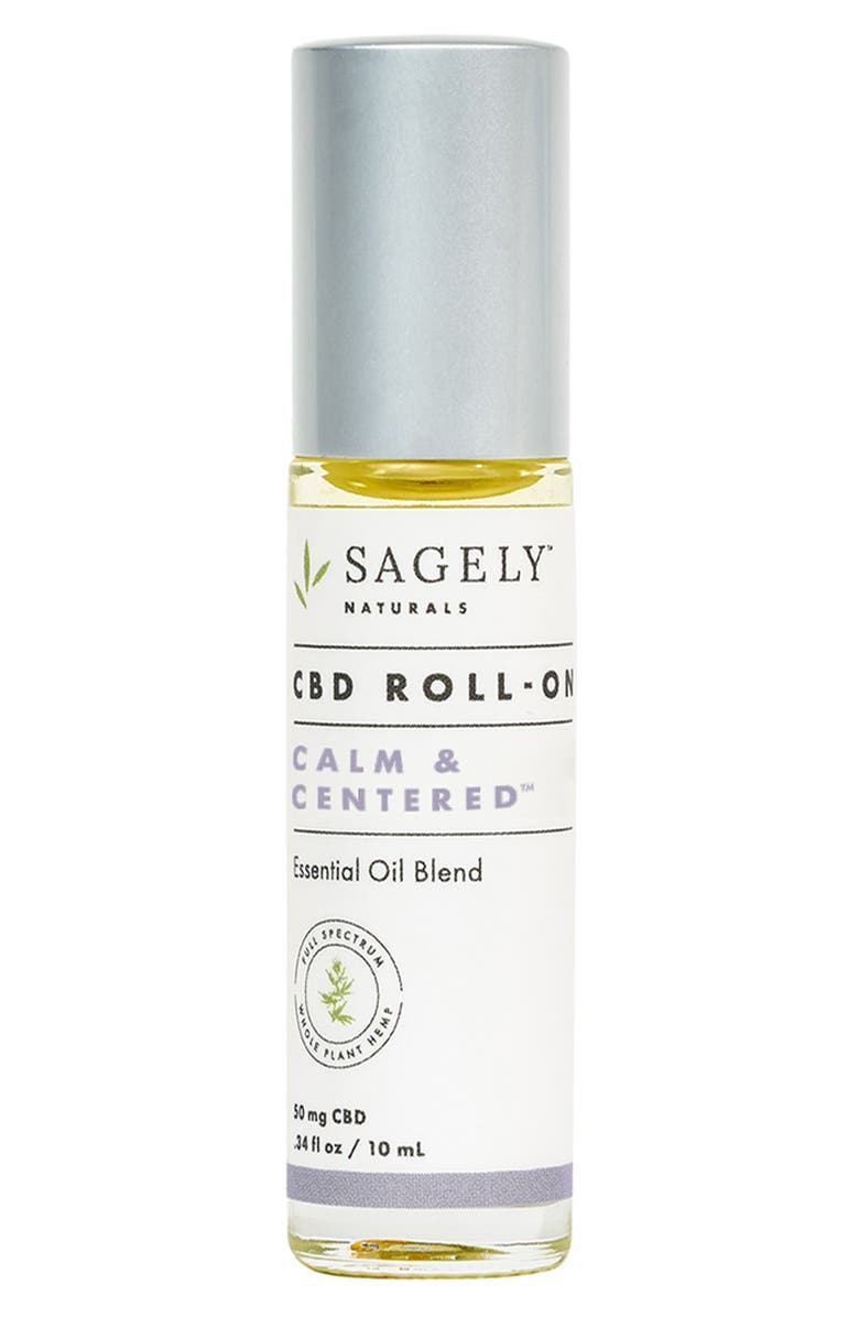 SAGELY NATURALS Calm & Centered CBD Roll-On Essential Oil Blend, Main, color, NO COLOR