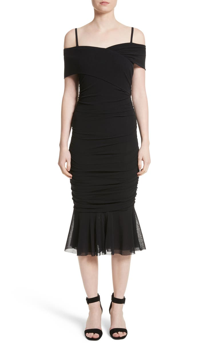 FUZZI Ruched Tulle Cold Shoulder Dress, Main, color, NERO