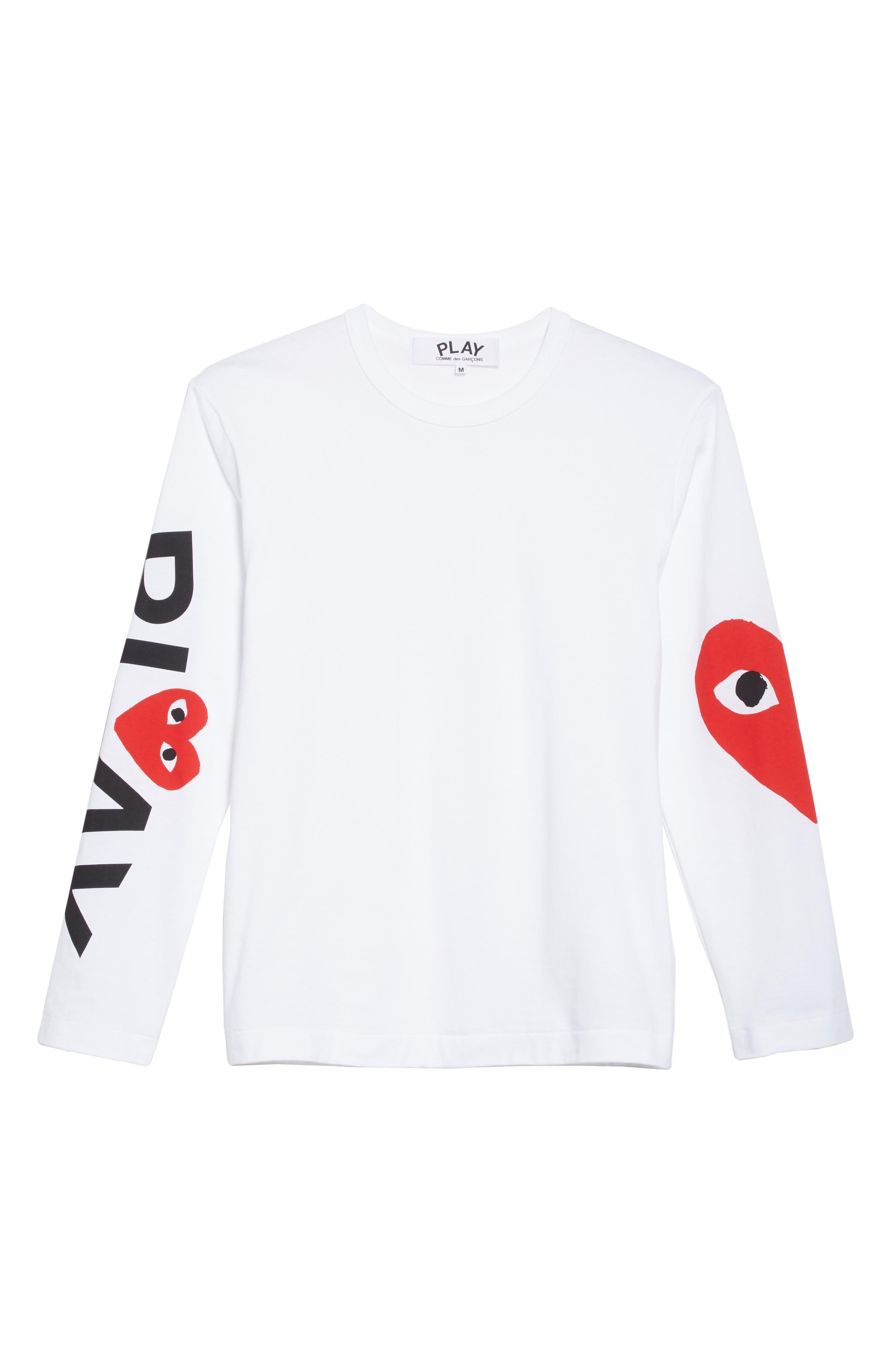 ,                             PLAY Logo Long Sleeve T-Shirt,                             Alternate thumbnail 6, color,                             WHITE