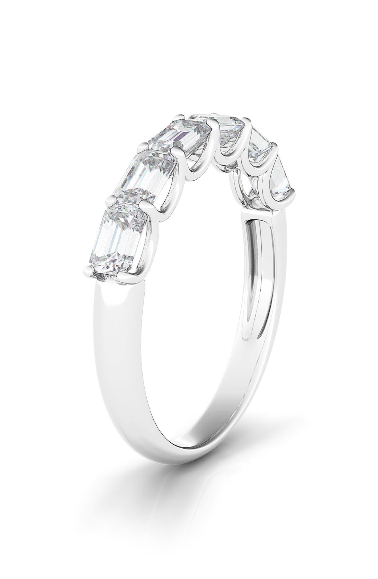 Half Sideways Emerald Cut Diamond 14K Gold Eternity Ring
