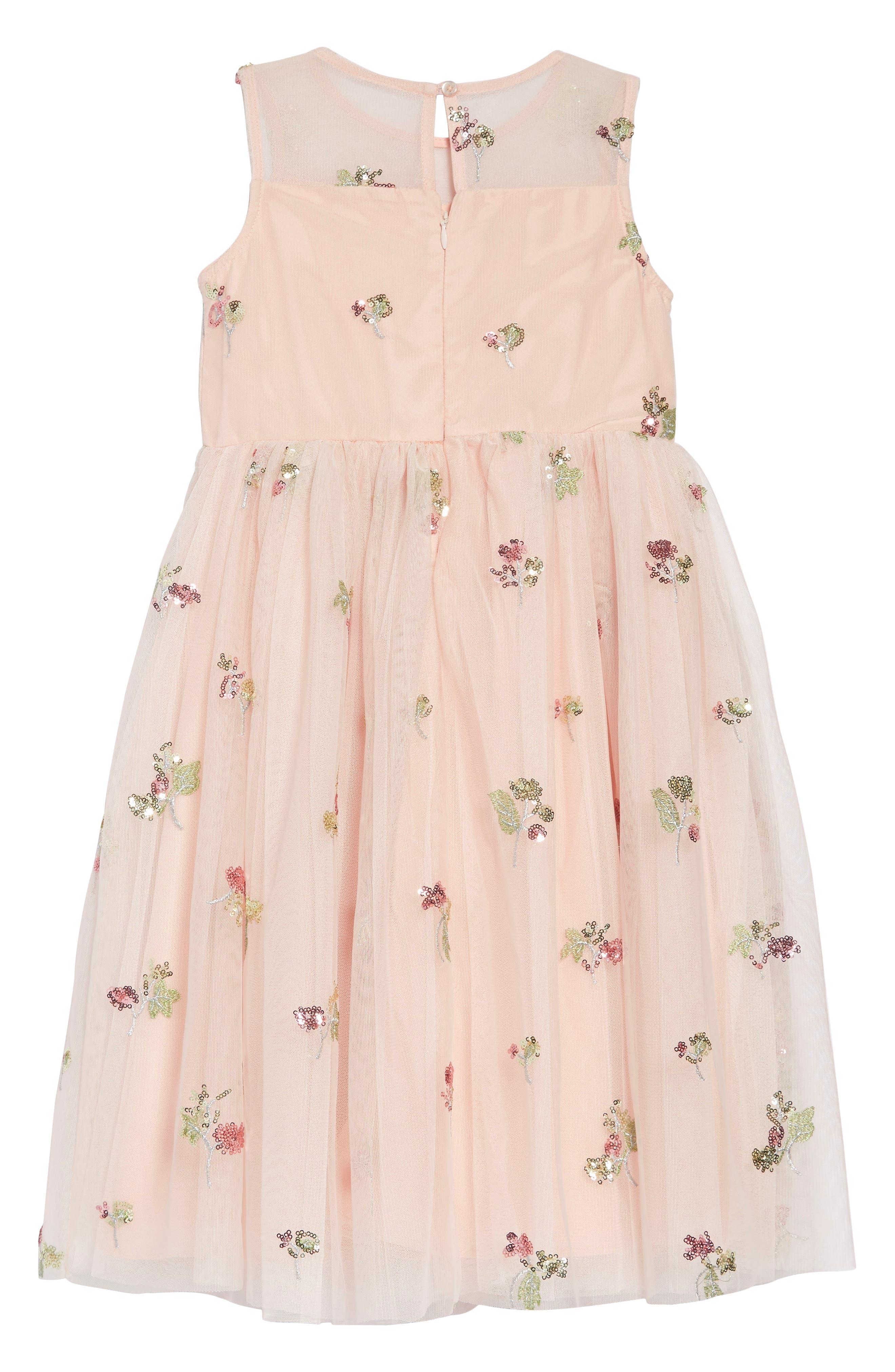 ,                             Sequin Embellished Tulle Midi Dress,                             Alternate thumbnail 3, color,                             PEACH