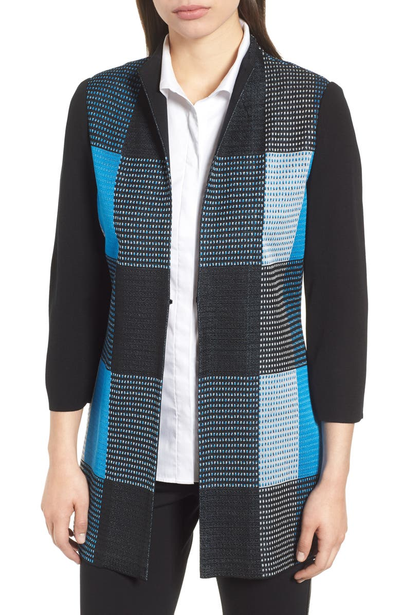 MING WANG Plaid Jacket, Main, color, BLACK/ BLUE CREEK/ IVORY