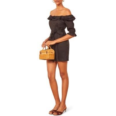 Reformation Indio Off The Shoulder Dress, Black