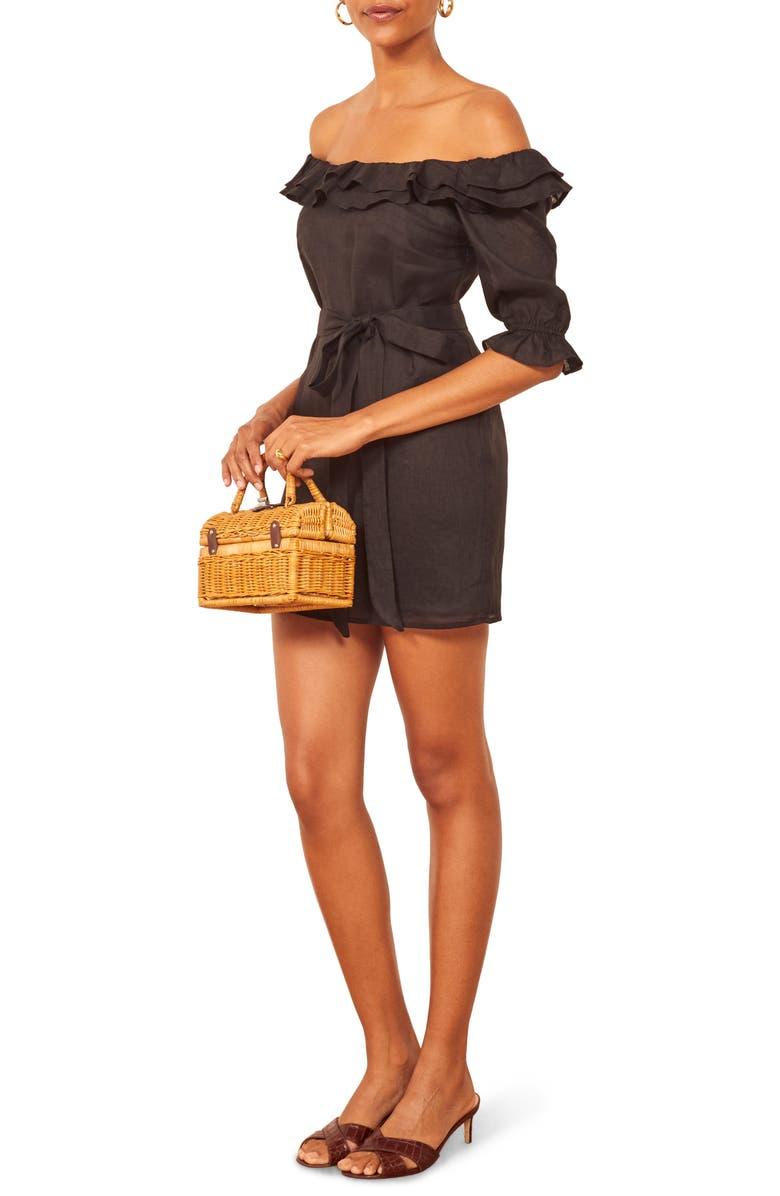 REFORMATION Indio Off the Shoulder Dress, Main, color, BLACK