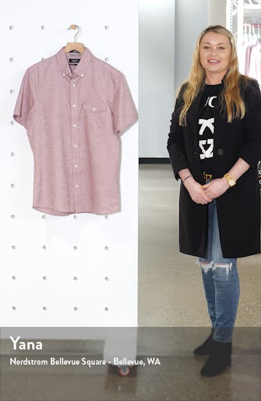 Nordstrom Mens Shop Slim Fit Short Sleeve Button-Down Shirt, sales video thumbnail