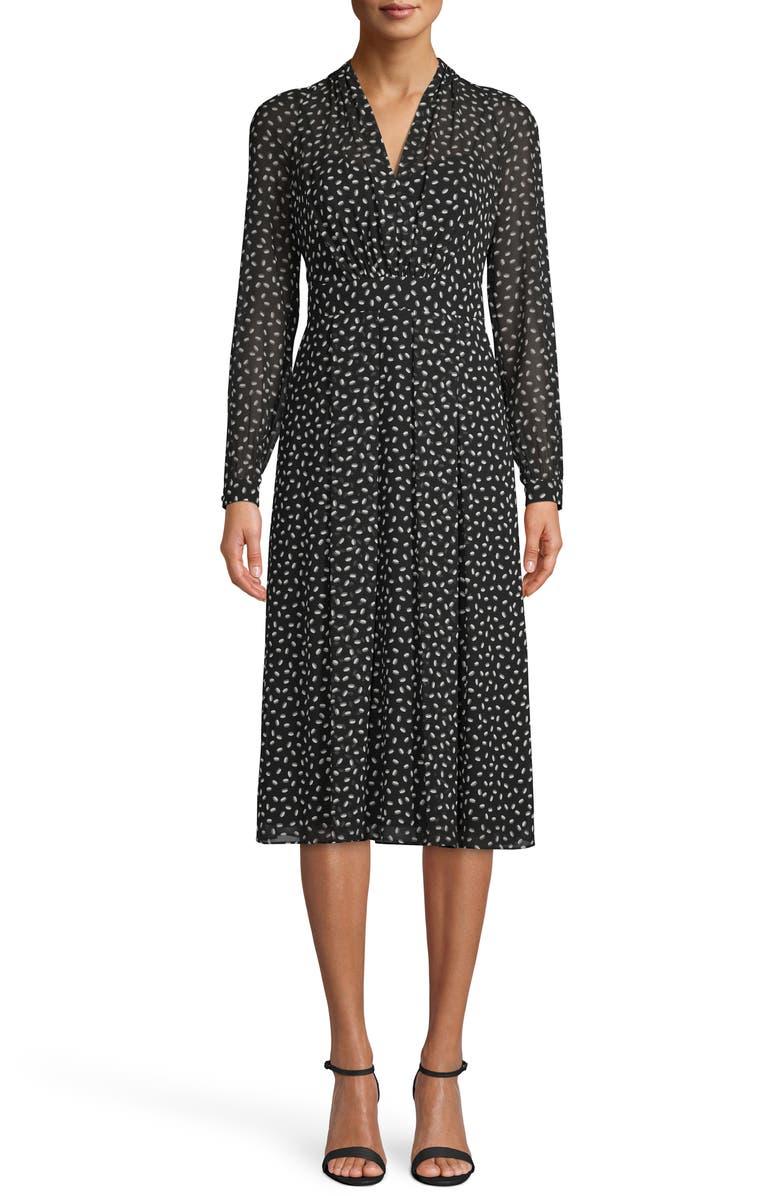 ANNE KLEIN Scatter Print V-Neck Long Sleeve Midi Dress, Main, color, 001