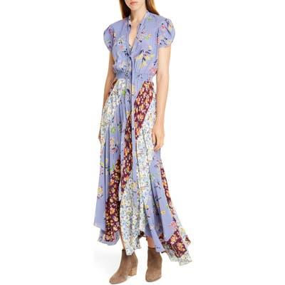 Polo Ralph Lauren Patchwork Floral Asymmetrical Silk Dress, Blue