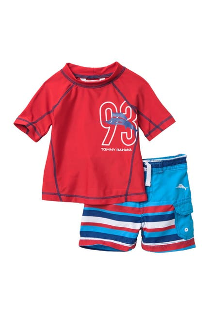 Image of Tommy Bahama TB 93 Striped Rashguard Top & Swim Trunks Set