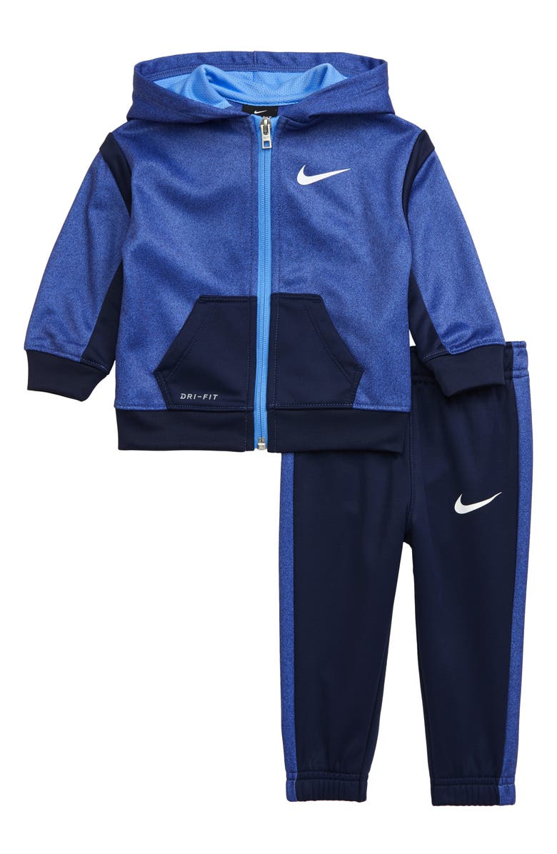 NIKE Therma Dri-FIT Speckle Colorblock Hoodie & Sweatpants Set, Main, color, MIDNIGHT NAVY