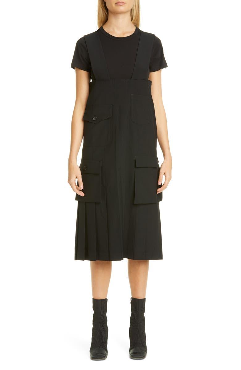 COMME DES GARÇONS Suspender Wool Utility Skirt, Main, color, 001