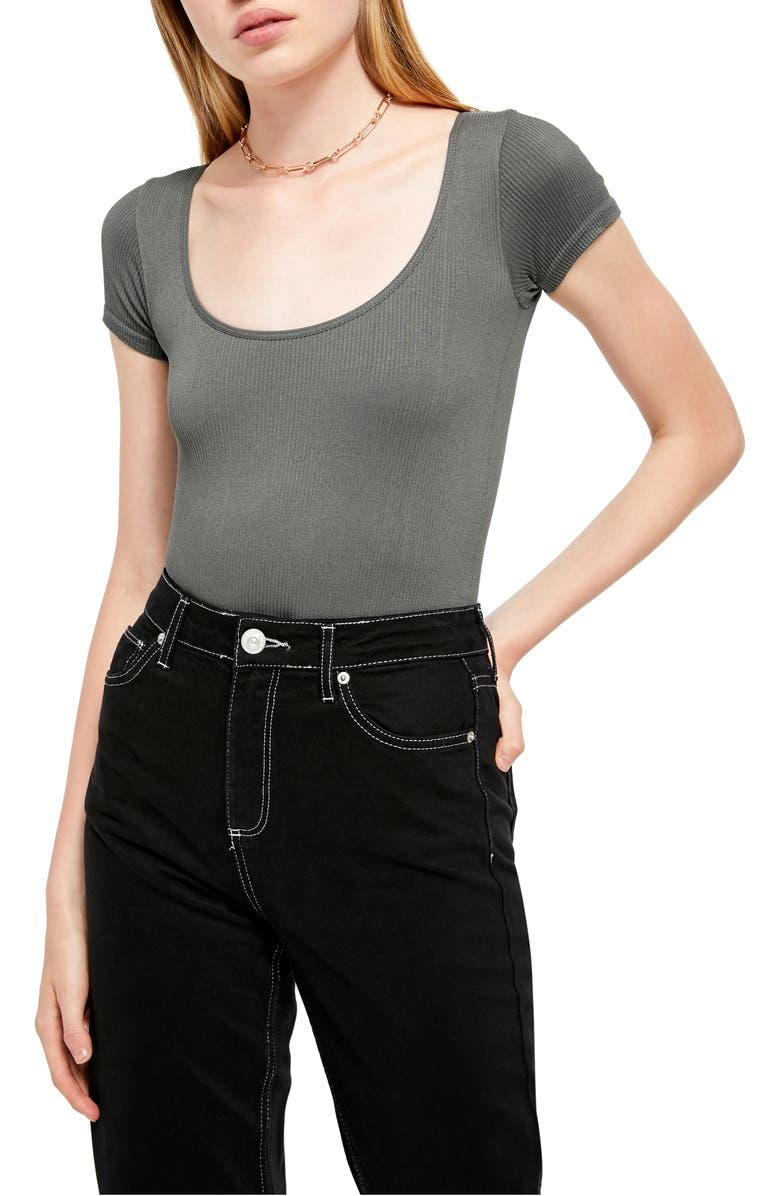 BDG URBAN OUTFITTERS Ella Ribbed Bodysuit, Main, color, DARK SHADOW
