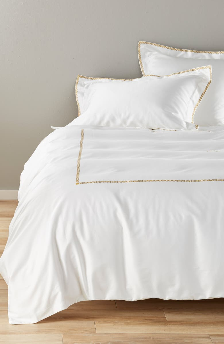 ROBERTO CAVALLI New Gold Duvet Cover, Main, color, WHITE