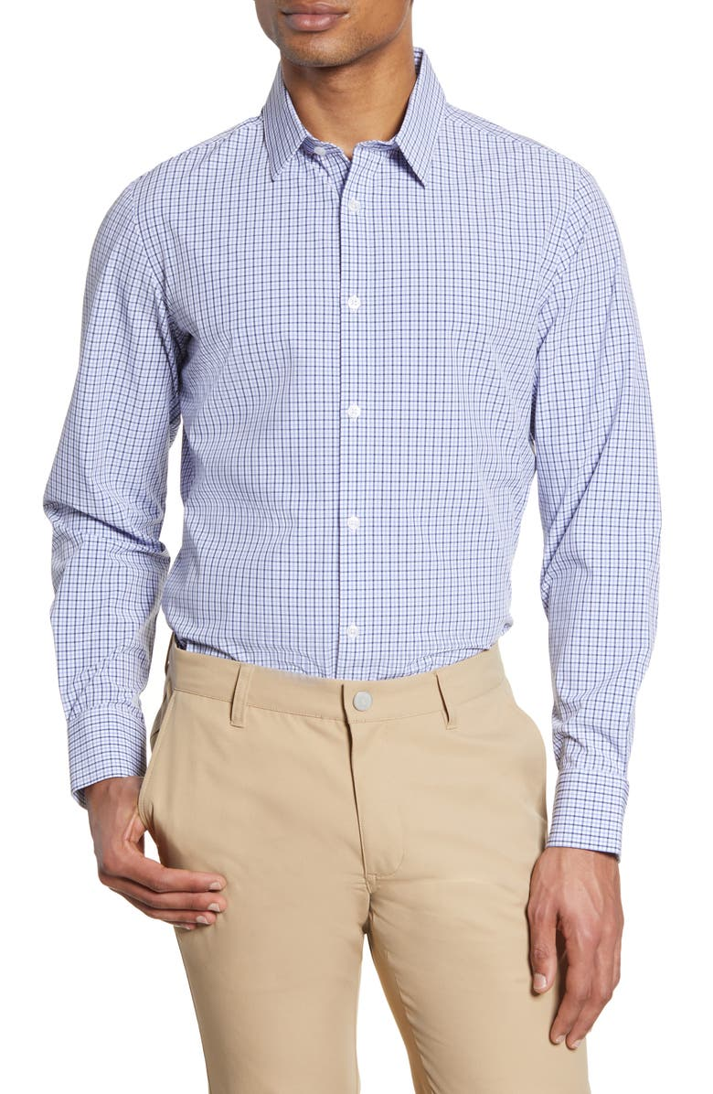 MIZZEN+MAIN Mizzen + Main Leeward Trim Fit Check Button-Up Performance Shirt, Main, color, NAVY PURPLE CHECK