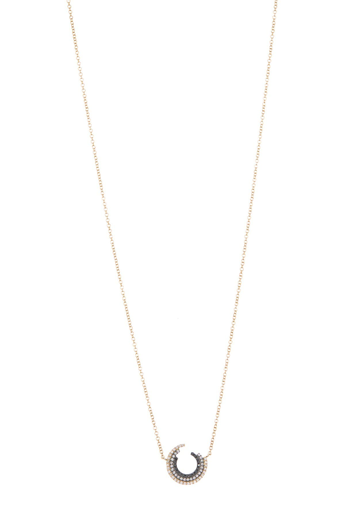 Image of EF Collection 14K Yellow Two-Tone Circle Diamond Pendant Necklace - 0.19 ctw