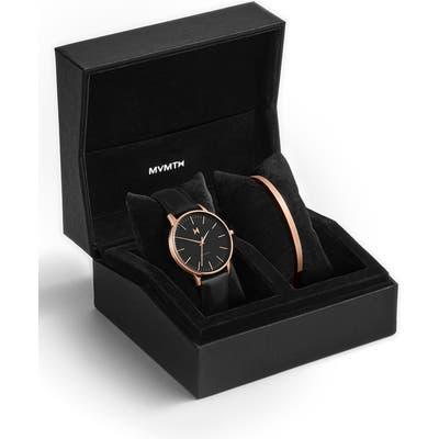 Mvmt Boulevard Santa Monica Leather Strap Watch & Cuff Bracelet Set,